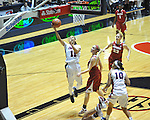 Ole Miss' Kenyotta Jenkins (11) vs. Arkansas' Kelsey Hatcher (3) and Arkansas' Melissa Wolffe (33) in a women's college basketball game in Oxford, Miss. on Thursday, January 31, 2013. Arkansas won 77-66.