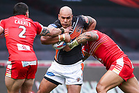 Picture by Alex Whitehead/SWpix.com - 19/03/2017 - Rugby League - Betfred Super League - Salford Red Devils v Castleford Tigers - AJ Bell Stadium, Salford, England - Castleford's Jake Webster is tackled by Salford's Junior Sa'u and Justin Carney.
