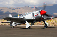 Joe Thibodeau taxies a Hawker built Sea Fury along the ramp at Stead Field, Nevada. The British built aircraft was originally delivered to the Iraqi Air Force and in 1979 it was brought to the United States and stored until it was returned to flying condition in 1996. Photographed 09/07