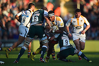 Nathan Hughes of Wasps takes on the Leicester Tigers defence. Aviva Premiership match, between Leicester Tigers and Wasps on November 1, 2015 at Welford Road in Leicester, England. Photo by: Patrick Khachfe / Onside Images
