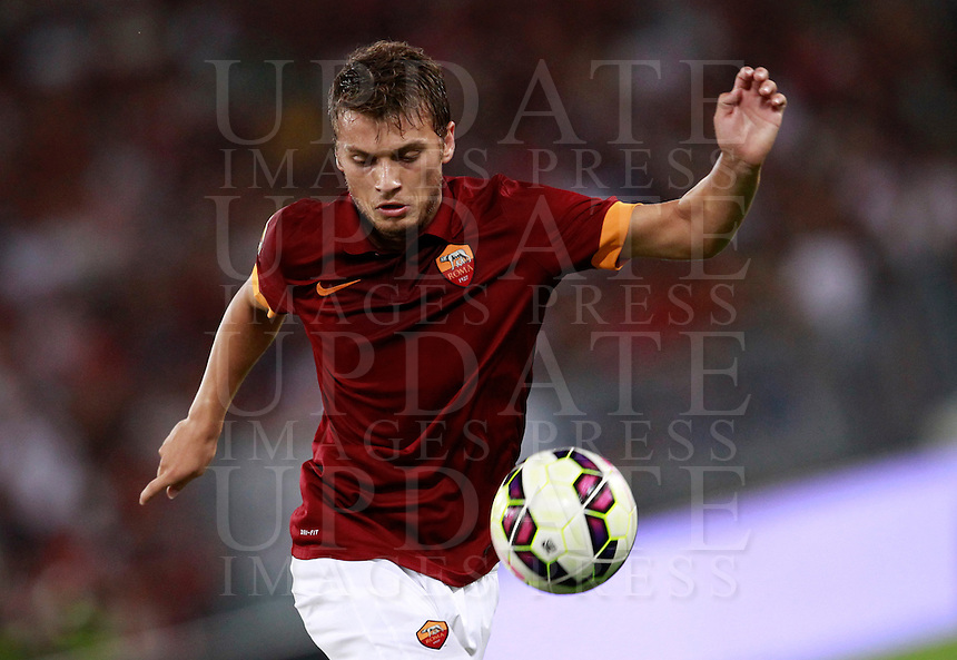 Calcio, amichevole Roma vs Fenerbahce. Roma, stadio Olimpico, 19 agosto 2014.<br /> Roma forward Adem Ljajic, of Serbia, in action during the friendly match between AS Roma and Fenerbahce at Rome's Olympic stadium, 19 August 2014.<br /> UPDATE IMAGES PRESS/Isabella Bonotto