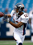 9 September 2007: Denver Broncos wide receiver Domenik Hixon warms up prior to facing the Buffalo Bills at Ralph Wilson Stadium in Buffalo, NY. The Broncos defeated the Bills 15-14 in the opening day matchup...Mandatory Photo Credit: Ed Wolfstein Photo