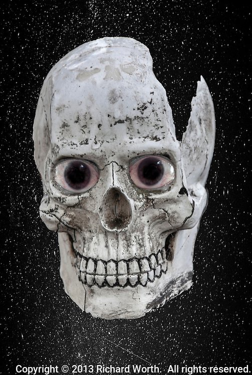 """A skull with eyes against a starry  night background.  Available as a 12"""" by 18"""" poster:  http://www.magcloud.com/browse/issue/483299?__r=188003"""