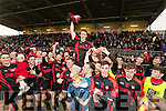 Kenmare Captain Stephen O'Brien lifts the cup after defeating Adare at Mallow on Sunday