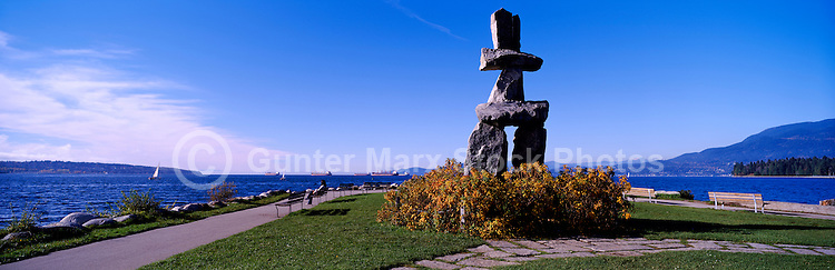 The Inukshuk at English Bay, in the West End of Vancouver, British Columbia, Canada - Artist: &quot;Alvin Kanak&quot; - Panoramic View