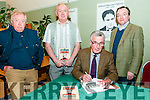 """Kitchner Weekend : Trevor Royle, author of """"The Kitchner Enigma"""" signing copies of this book after his lecture on Kitchner at the Seanchai Centre, Listowel on Saturday night last. L-R : Jim Halpin, John Wade, Trevor Royle & Dr. Declan Downey."""