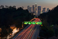 Los Angeles CA, Skyline, 110, Pasadena Freeway, Sunset, Dramatic streaking tail lights High dynamic range imaging (HDRI or HDR)