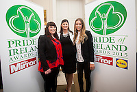 02/04/2015<br /> Sinead Flynn, Aoife Clarke Head of Communications LIDL Ireland, Eimear O' Sullivan<br />  during the Pride of Ireland judging day in the Mansion House, Dublin.<br /> Photo:  Gareth Chaney Collins