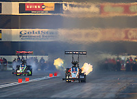 Feb 12, 2016; Pomona, CA, USA; NHRA top fuel driver Terry McMillen during qualifying for the Winternationals at Auto Club Raceway at Pomona. Mandatory Credit: Mark J. Rebilas-USA TODAY Sports