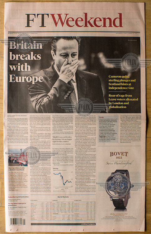 The front cover of the FT Weekend, a suppliment of the Financial Times newspaper, on 25 June 2016, two days after the EU referendum.