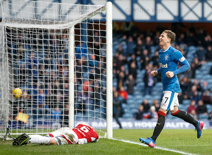 Joe Garner laughs after scoring his second goal of the match