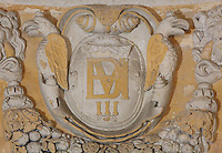 Sculptural detail of a coat of arms in the Royal Chapel, on the second floor of the Phare de Cordouan or Cordouan Lighthouse, built 1584-1611 in Renaissance style by Louis de Foix, 1530-1604, French architect, located 7km at sea, near the mouth of the Gironde estuary, Aquitaine, France. This is the oldest lighthouse in France. There are 4 storeys, with keeper apartments and an entrance hall, King's apartments, chapel, secondary lantern and the lantern at the top at 68m. Parabolic lamps and lenses were added in the 18th and 19th centuries. The lighthouse is listed as a historic monument. Picture by Manuel Cohen