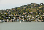 Houses and water, city of Tiburon on San Francisco Bay, CA, California.  Appealing community on Marin side with breakfast places, sailboats, outdoor dining, houses with scenic views, views of the Golden Gate, cormorant birdlife, public sculptures, a railroad museum, boutique art shops, and an historic China Cabin building from an ex-ship..Photo camari267-70384..Photo copyright Lee Foster, www.fostertravel.com, 510-549-2202, lee@fostertravel.com.