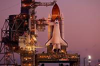 CAPE CANAVERAL, FL - MARCH 11:  Daybreak reveals Space shuttle Endeavor shortly after arriving at Launch Pad 39A, Endeavour's liftoff is planned for April 19. The mission commander is Mark Kelly, the husband of U.S. Rep. Gabrielle Giffords of Arizona. (Photo by Roberto Gonzalez/Getty Images)