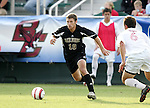 Wake's Justin Moose (10) moves past Maryland's Chris Lancos (6) on Wednesday, November 9th, 2005 at SAS Stadium in Cary, North Carolina. The University of Maryland Terrapins defeated the Wake Forest University Demon Deacons 2-1 during their Atlantic Coast Conference Tournament Quarterfinal game.