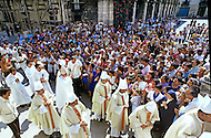February 22, 1986. Havana, Cuba. The cathedral was too small for the crowd, so communion was given to believers standing outside on the plaza.