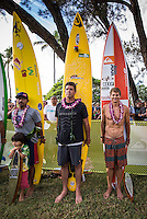 Waimea Bay, North Shore of Oahu, Hawaii.  December 4 2014) Ramon Navarro (CHL), Peter Mel (USA) and Jamie Mitchell (AUS). - The Opening Ceremony of the 2014 Quiksilver In Memory of Eddie Aikau contest was held this afternoon in the park at Waimea Bay. This winter, the big wave riding event celebrates a special milestone of 30 years. <br /> The Quiksilver In Memory of Eddie Aikau is a one-day big wave riding event that only takes place if and when waves meet a 20-foot minimum height, during the holding period of December 1 through February 28, each Hawaiian winter. The official Opening Ceremony with the Aikau Family will be held on Thursday, December 4th, 3pm, at Waimea Bay.<br />  <br /> &quot;The Eddie&quot; is the original big wave riding event and stands as the measure for every big wave event that exists in the world today. It has become an icon of surfing through its honor, integrity and rarity.<br />  <br /> The event honors Hawaiian hero Eddie Aikau, whose legacy is the respect he held for the ocean; his concern for the safety of all who entered it on his watch; and the way with which he rode Waimea Bay on its most giant and memorable days. <br />  <br /> Adherence to strict wave height standards has ensured its integrity; it is only held on days when waves meet or exceed the Hawaiian 20-foot minimum (wave face heights of approximately 40 feet). This was the threshold at which Eddie enjoyed to ride the Bay. It has been said that what makes The Eddie special is the times it doesn't run, because that is precisely its guarantee of integrity and quality days of giant surf.<br />  <br /> The competition has only been held a total of 8 times: it's inaugural year at Sunset Beach, and then seven more times at its permanent home of Waimea Bay. The Eddie was last held on December 9, 2009, won by California's Greg Long.   Photo: joliphotos.com