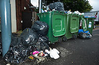 Rubbish building up during a two week strike over new contracts and pay cuts by Southampton dustmen.