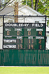 21 May 2007: Doubleday Scoreboard displays the final score after Baseball's Annual Hall of Fame Game in Cooperstown, NY. The Orioles defeated the Blue Jays 13-7 in front of a sellout crowd of 9,791 at the historical ballpark...Mandatory Credit: Ed Wolfstein Photo