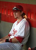 Lake Mary Rams shortstop Brendan Rodgers (3) in the dugout before a game against the Lake Brantley Patriots on April 2, 2015 at Allen Tuttle Field in Lake Mary, Florida.  Lake Brantley defeated Lake Mary 10-5.  (Mike Janes Photography)