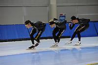 SCHAATSEN: SALT LAKE CITY: Utah Olympic Oval, 13-11-2013, Essent ISU World Cup, training, Stefan Groothuis (NED), Pim Schipper (NED), Kjeld Nuis (NED), ©foto Martin de Jong