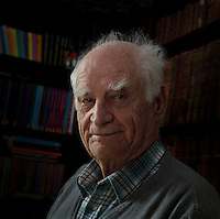Michel Serres, Ph.D. (1930), French philosopher specialized in epistemology, professor as well as a writer, member of the prestigious French Academy (March 29th 1990), honoured with National Order of the Legion of Honour (Grand Officier de l'Ordre de la Legion d'Honneur) in July 2010, at his Parisian residence on May 5th, 2012. Picture by Manuel Cohen