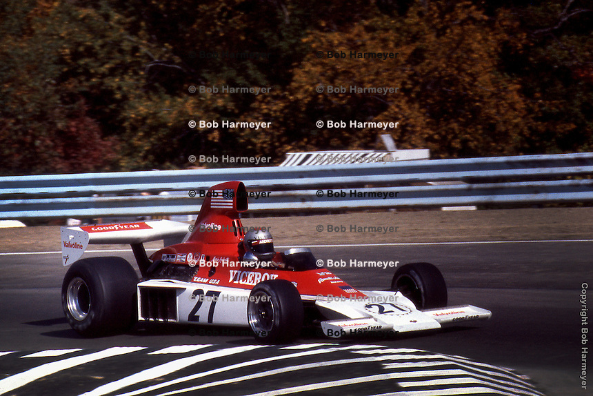 WATKINS GLEN, NY - OCTOBER 5: Mario Andretti drives the Parnelli VPJ4 002/Ford Cosworth during the United States Grand Prix on October 5, 1975, at the Watkins Glen Grand Prix Race Course near Watkins Glen, New York.