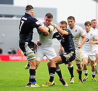 Matt Gallagher of England U20 is double-tackled. World Rugby U20 Championship match between England U20 and Scotland U20 on June 11, 2016 at the Manchester City Academy Stadium in Manchester, England. Photo by: Patrick Khachfe / Onside Images