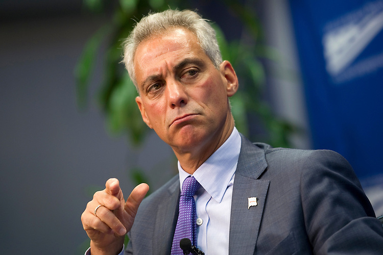 """UNITED STATES - JULY 19: Chicago Mayor Rahm Emanuel speaks at the Center for American Progress  during a discussion on """"Innovation at the Local Level: The Chicago Infrastructure Trust and New Job Growth."""" (Photo By Chris Maddaloni/CQ Roll Call)"""