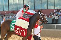 HOT SPRINGS, AR - APRIL 15: Inside Straight #5, with jockey Geovanni Franco aboard after winning the Oaklawn Handicap at Oaklawn Park on April 15, 2017 in Hot Springs, Arkansas. (Photo by Justin Manning/Eclipse Sportswire/Getty Images)