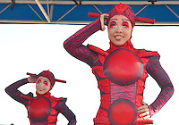 Cirque du Soleil OVO  characters&rsquo; pose for photos at the Santa Monica  Pierduring a  Leap year  celebration of on Wednesday, February 29, 2012..