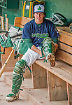 9 July 2015: Vermont Lake Monsters catcher Jordan Devencenzi dons his equipment in the dugout prior to a game against the Mahoning Valley Scrappers at Centennial Field in Burlington, Vermont. The Lake Monsters rallied to tie the game 4-4 in the bottom of the 9th, but fell to the Scrappers 8-4 in 12 innings of NY Penn League play. Mandatory Credit: Ed Wolfstein Photo *** RAW Image File Available ****