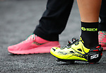 Pink and yellow at sign on before the start of Stage 6 of the 100th edition of the Giro d'Italia 2017, running 217km from Reggio Calabria to Terme Luigiane, Italy. 11th May 2017.<br /> Picture: LaPresse/Simone Spada   Cyclefile<br /> <br /> <br /> All photos usage must carry mandatory copyright credit (&copy; Cyclefile   LaPresse/Simone Spada)