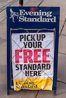 Evening Standard Newspaper Headlines Traditional Pavement  Style A-board with Billwires - 2013.