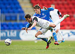 St Johnstone v Inverness Caley Thistle...02.05.15   SPFL<br /> Danny Williams is sent flying by Murray Davidson<br /> Picture by Graeme Hart.<br /> Copyright Perthshire Picture Agency<br /> Tel: 01738 623350  Mobile: 07990 594431
