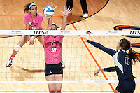 SAN ANTONIO, TX - OCTOBER 18, 2013: The Rice University Owls versus the University of Texas at San Antonio Roadrunners Volleyball at the UTSA Convocation Center. (Photo by Jeff Huehn)