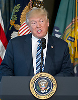 United States President Donald J. Trump makes remarks prior to signing Executive Orders concerning financial services at the Department of the Treasury in Washington, DC on April 21, 2017.<br /> Credit: Ron Sachs / Pool via CNP /MediaPunch