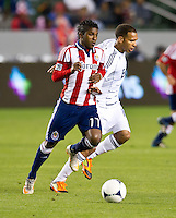 CARSON, CA - March 17, 2012: Chivas USA midfielder Miller Bolanos (17) during the Chivas USA vs Vancouver Whitecaps FC match at the Home Depot Center in Carson, California. Final score Vancouver Whitecaps 1, Chivas USA 0.
