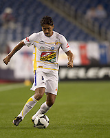 Monarcas Morelia defender Adrian Garcia Arias (5) passes the ball. The New England Revolution defeated Monarcas Morelia in SuperLiga 2010 group stage match, 1-0, at Gillette Stadium on July 20, 2010.