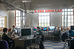 Andy Erb and other studens work in the GRID Lab. ©Ohio University / Photo by Ben Siegel
