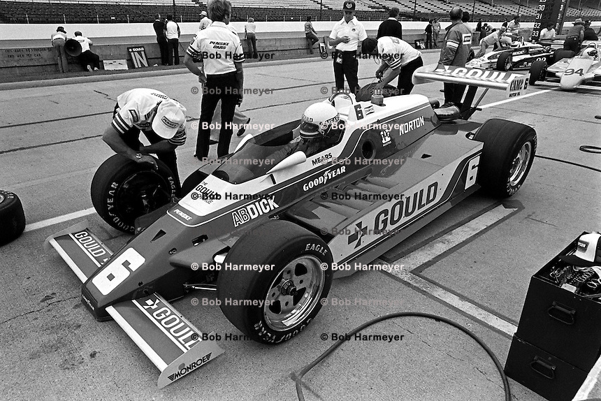 INDIANAPOLIS, IN - MAY 24: Rick Mears waits to drive his Penske PC9B 005/Cosworth during practice for the Indianapolis 500 USAC/CART Indy Car race at the Indianapolis Motor Speedway in Indianapolis, Indiana, on May 24, 1981.