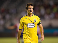 Columbus Crew forward Guillermo Barros Schelotto (7) turns and moves with the ball. CD Chivas USA defeated the Columbus Crew 3-1 at Home Depot Center stadium in Carson, California on Saturday July 31, 2010.