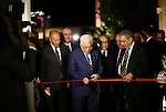 Palestinian President Mahmoud Abbas opens the museum of late Palestinian leader Yasser Arafat with Secretary General of the Arab League Ahmed Aboul Gheit and former Secretary-General of the Arab League Amr Mousa in the West Bank city of Ramallah on November 09, 2016. apaimages/Fadi Arouri/Pool