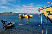 Fishermen ties their boats in the port of Porvenir in Chilean Tierra del Fuego. The hamlet on the Strait of Magellan is the gateway to the islands at the very end of South America.