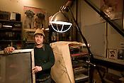 Screen-printerRon Liberti in his studio, above Track & Field Studio in Carborro, NC. .