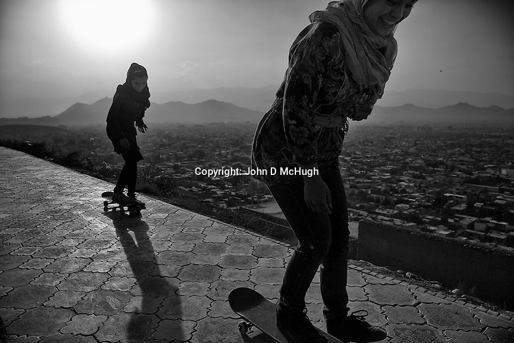 Skateboarders from the Skateistan organisation are seen at Bibi Maru Hill in Kabul, 23 August 2012. (John D McHugh)