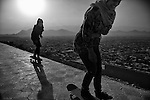 Skateboarders from the Skateistan organisation are seen at Bibi Maru Hill in Kabul, 23 August 2012. (John D McHugh)