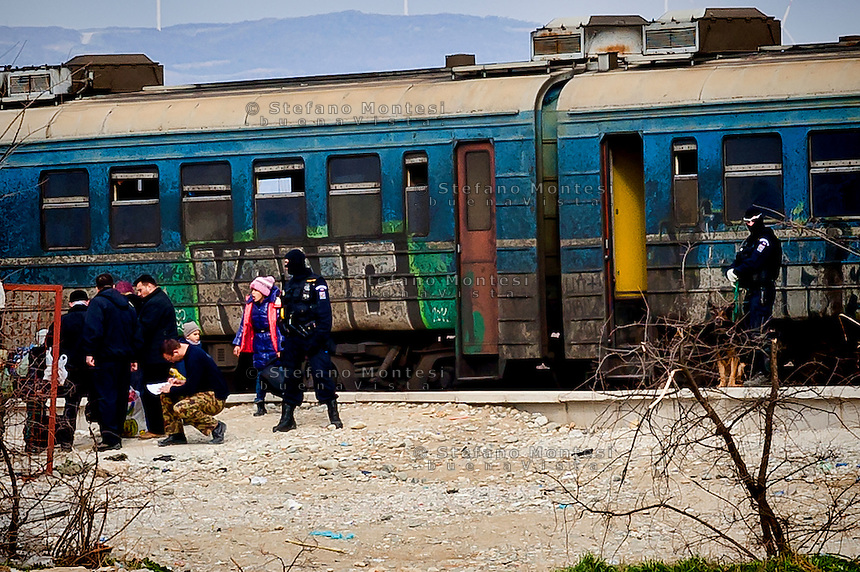 The special train carrying  refugees the the Serbian border. 8 Febraury 2016.<br /> Hundreds of refugees arrive at Idomeni and cross the border between Greece and Macedonian on their journey to North Europe.