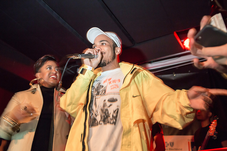 Durham, North Carolina - Friday May 6, 2016 - Anderson .Paak joins Rapsody on stage at The Pinhook Friday night during the Art of Cool Festival in Durham.