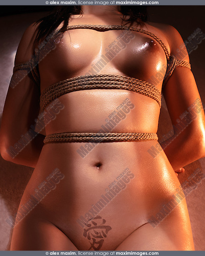 Nude Asian Woman Body Tied With Japanese Shibari Rope Bondage